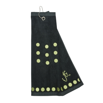 Black with Lime Green Dots Golf Towel