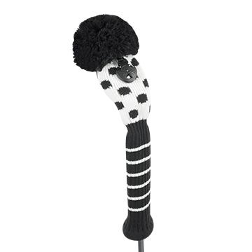 just4golf white black small dot hybrid golf headcover