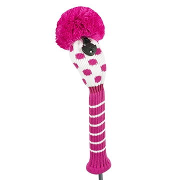 just4golf white deep pink small dot hybrid golf headcover