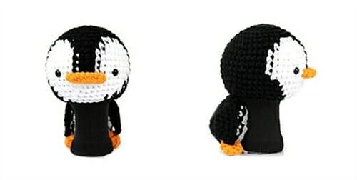 penguin black white driver golf headcover