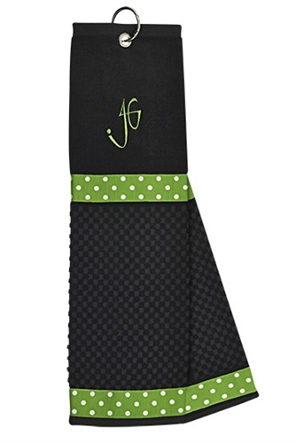 Black with Green/White Dot Golf Towel