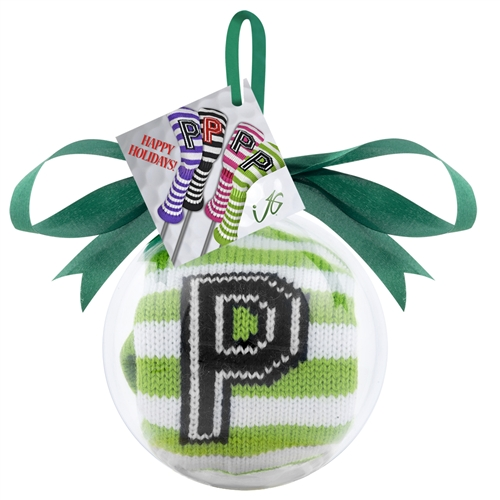 Green and White Stripe Putter Ornament