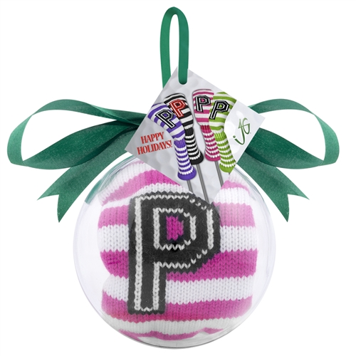 just4golf pink white stripe putter headcover ornament