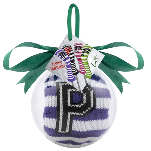 just4golf purple white stripe putter headcover ornament