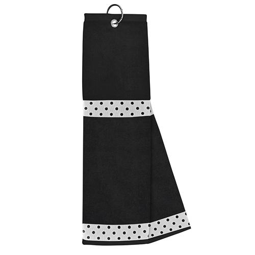 just4golf white ribbon black dot black golf towel