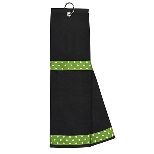 Black Towel with Lime / White Dot