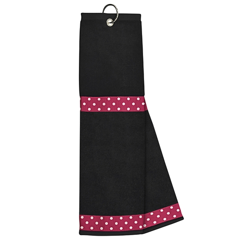 Black Towel with Pink / White Dot