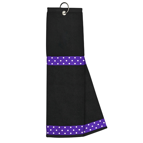 Black Towel with Purple / White Dot
