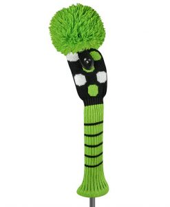 just4golf black white lime dot fairway golf headcover