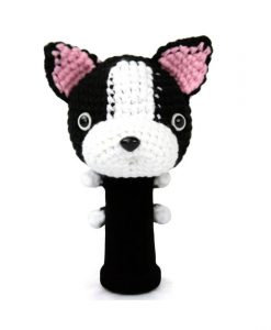 boston terrier black driver golf headcover