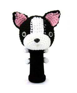 boston terrier black driver golf headcover