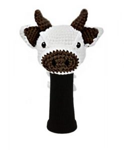 cow white black driver golf headcover