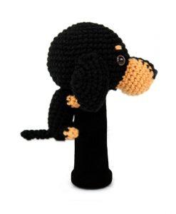 dachshund black driver golf headcover side