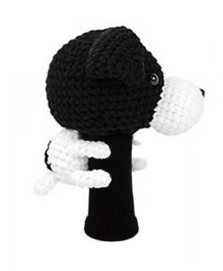 jack russell terrier black driver golf headcover side