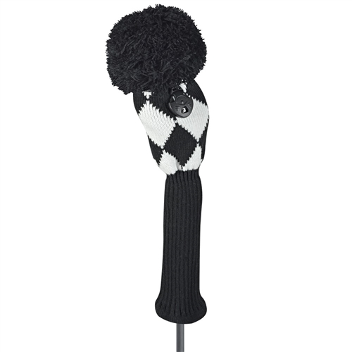 just4golf black white diamond fairway golf headcover