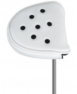 just4golf white black dot mallet putter headcover