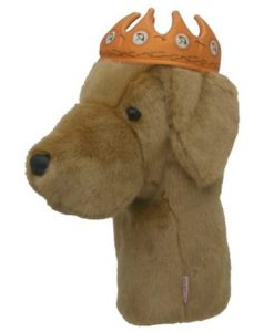 Yellow Lab with Crown Golf Headcover