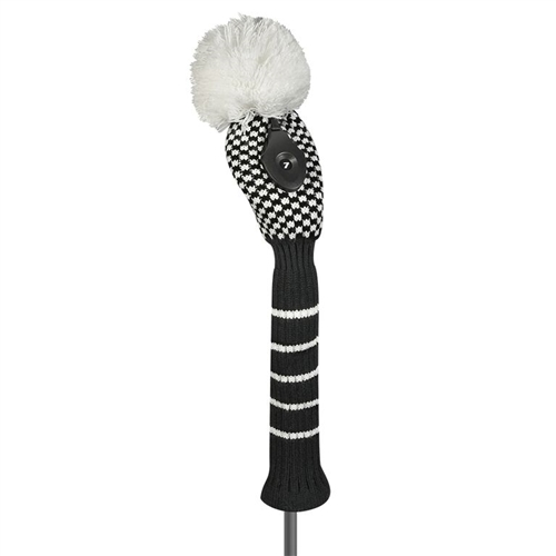 just4golf black white mini check hybrid golf headcover