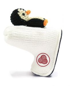 penguin white black beige blade putter golf headcover