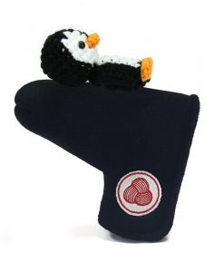 penguin black black white blade putter golf headcover