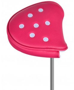 just4golf pink white dot mallet putter headcover