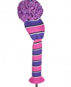 just4golf spakle pink purple black white wide stripe driver golf headcover