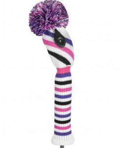 just4golf pink purple black white stripe fairway golf headcover