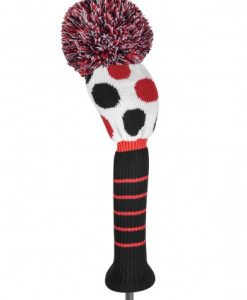 just4golf red black white dot driver headcover