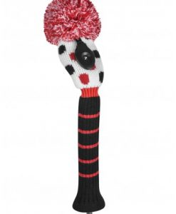 just4golf red black white small dot hybrid golf headcover