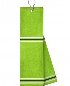 just4golf white black stripe lime golf towel