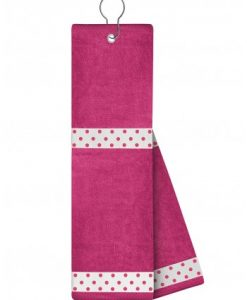 just4golf white ribbon pink dot pink golf towel