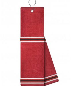 red with white and black ribbon golf towel