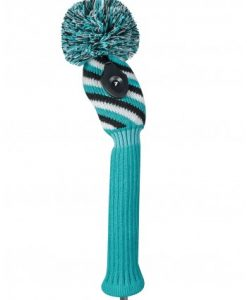 just4golf turquoise black white diagonal stripe hybrid golf headcover