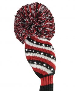 just4golf sparkle red black white stripe hybrid golf headcover