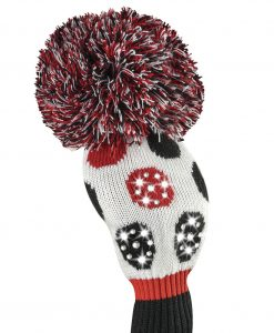 sparkle red black white dot driver golf headcover
