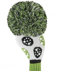 sparkle white lime black dot driver golf headcover