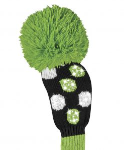 just4golf sparkle black white lime dot fairway golf headcover