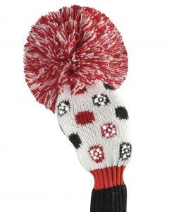 sparkle red black white small dot hybrid golf headcover