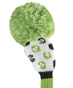 just4golf sparkle white lime black dot hybrid golf headcover