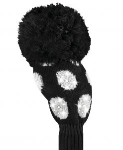 just4golf sparkle black white large dot driver golf headcover
