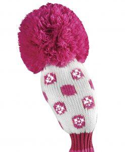 just4golf sparkle white pink dot hybrid golf headvcover