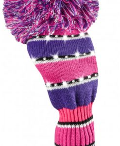 just4golf pink purple black white wide stripe driver golf headcover