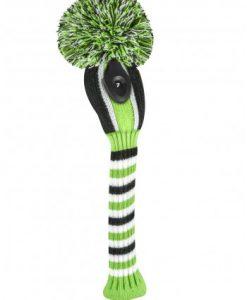 just4golf lime black white stripe hybrid golf headcover