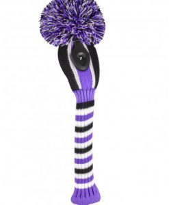 just4golf purple black white stripe hybrid golf headcover