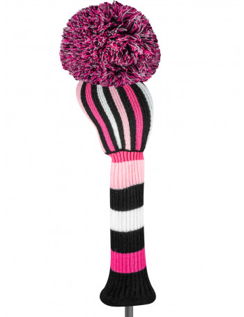 just4golf pink black white stripe driver golf headcover