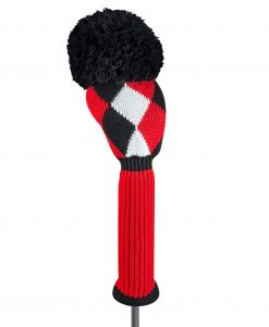 j4g red black white diamond driver golf headcover