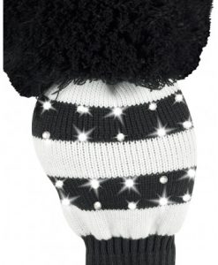 just4golf sparkle black white wide stripe driver golf headcover