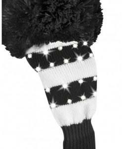 just4golf sparkle black white wide stripe fairway golf headcover