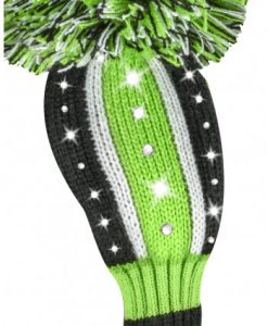 just4golf sparkle lime black white stripe hybrid golf headcover