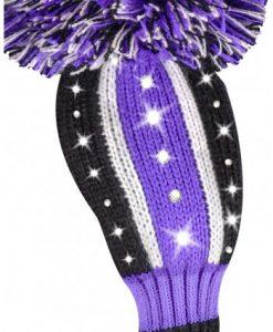 just4golf sparkle purple black white stripe hybrid golf headcover
